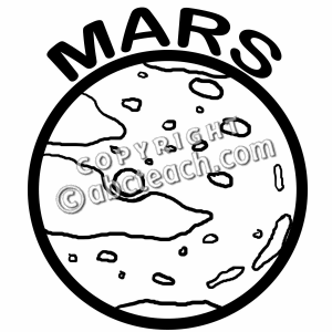 Mars Black And White Clipart.