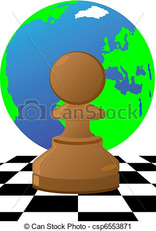 Vector Clip Art of Pawn on the chessboard.