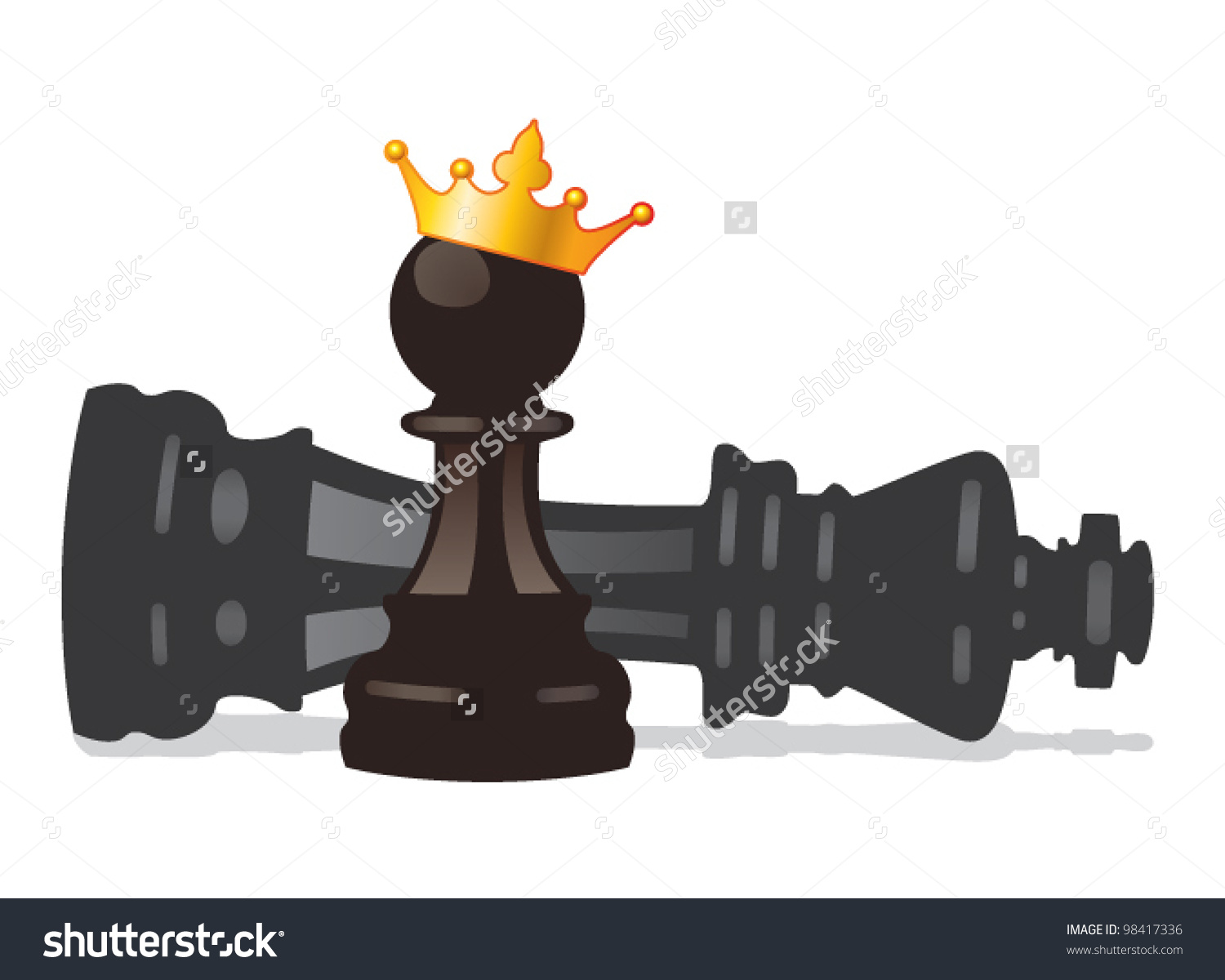Vector Chess Pawn Golden Crown Defeated Stock Vector 98417336.