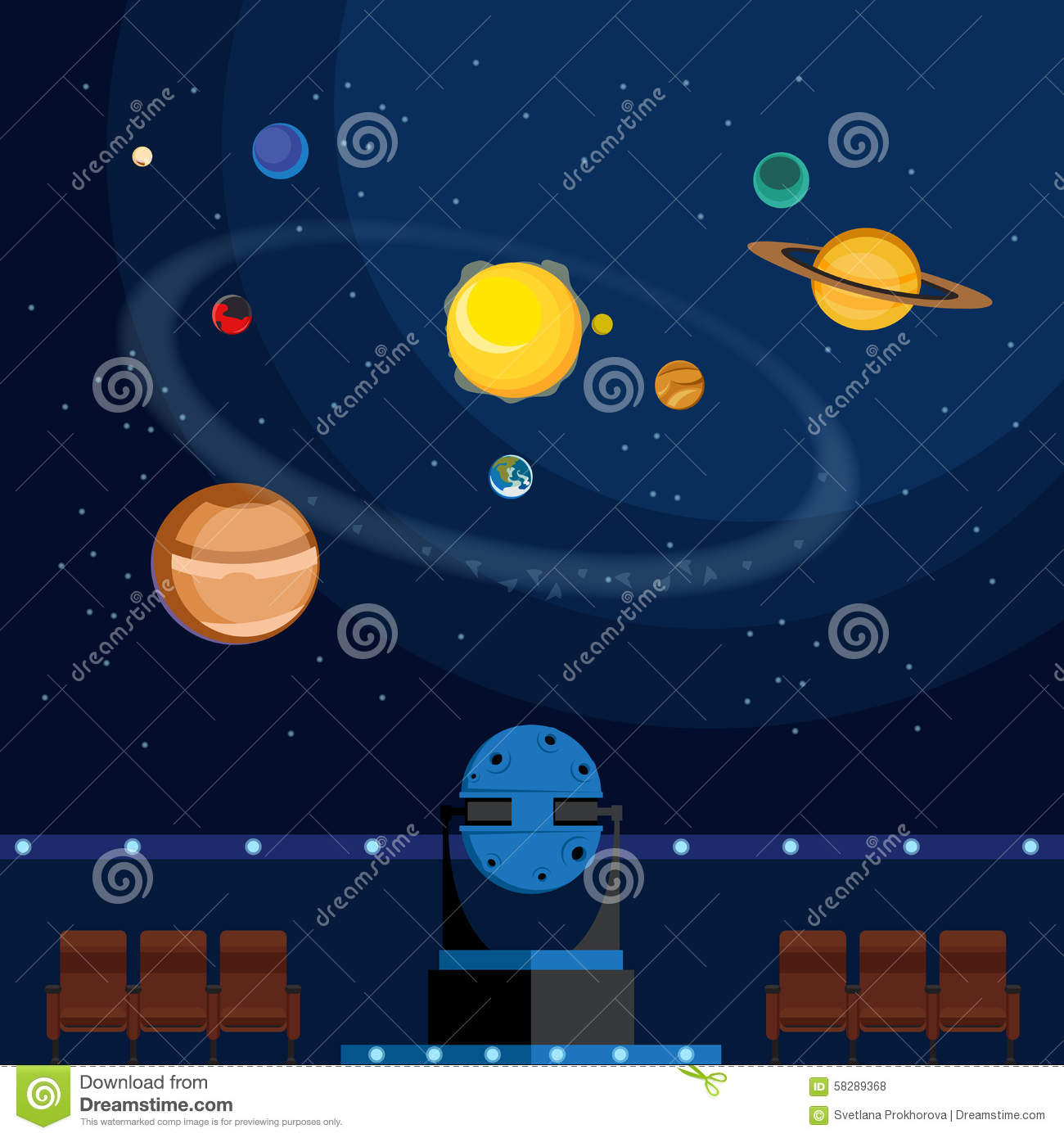 Planetarium Stock Vector.