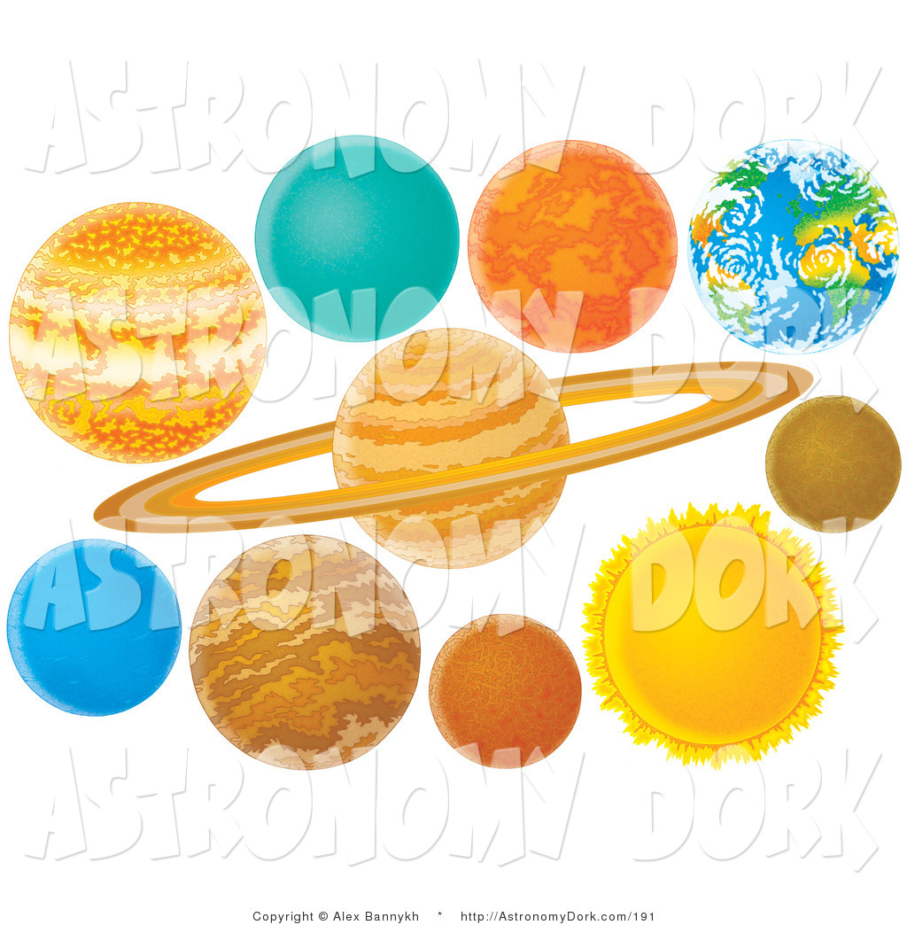 Clip Art of Colorful Planets of the Solar System on White by Alex.
