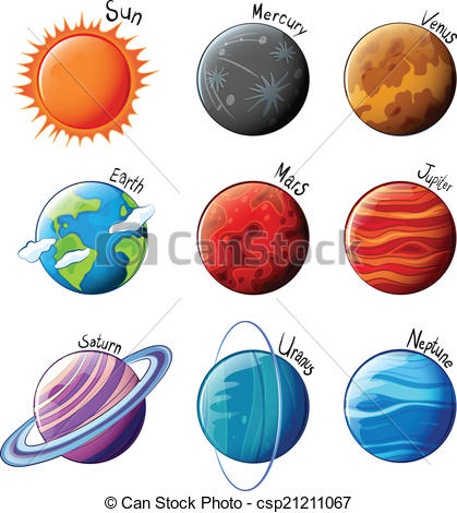 Clip Art Vector of Planets of the Solar System.