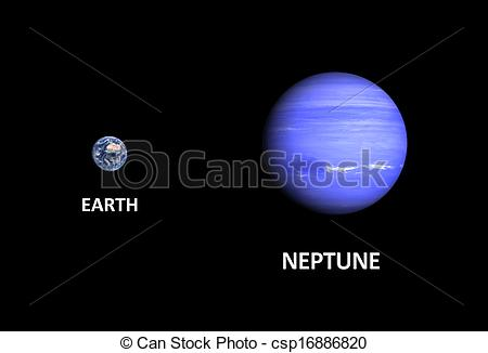 Clip Art of Planets Earth and Neptune.