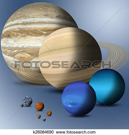 Stock Illustrations of Planets Of Solar System Full Size.