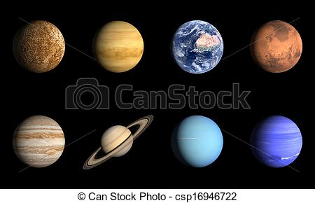 Clip Art of Planets of the Solarsystem.