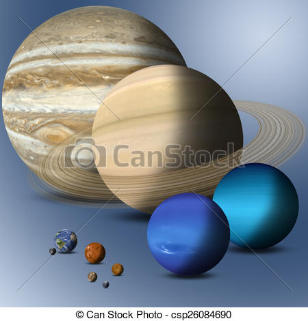 Stock Illustration of Planets Of Solar System Full Size Comparison.