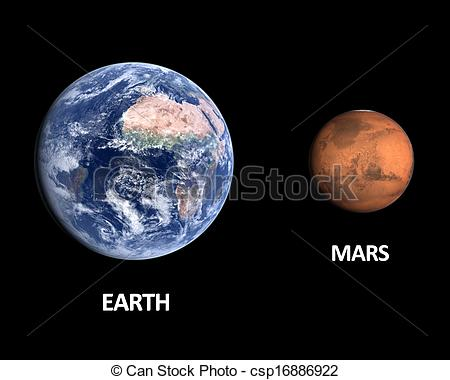 Clip Art of Planets Earth and Mars.