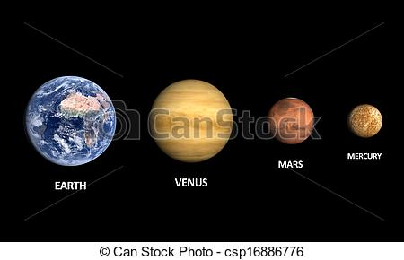 Stock Illustrations of Planets Earth Venus Mars and Moon.