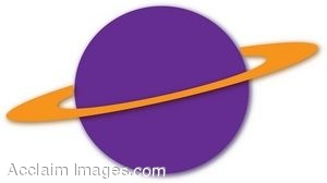 Clip Art of a Purple Planet With A Gold Ring Around It.