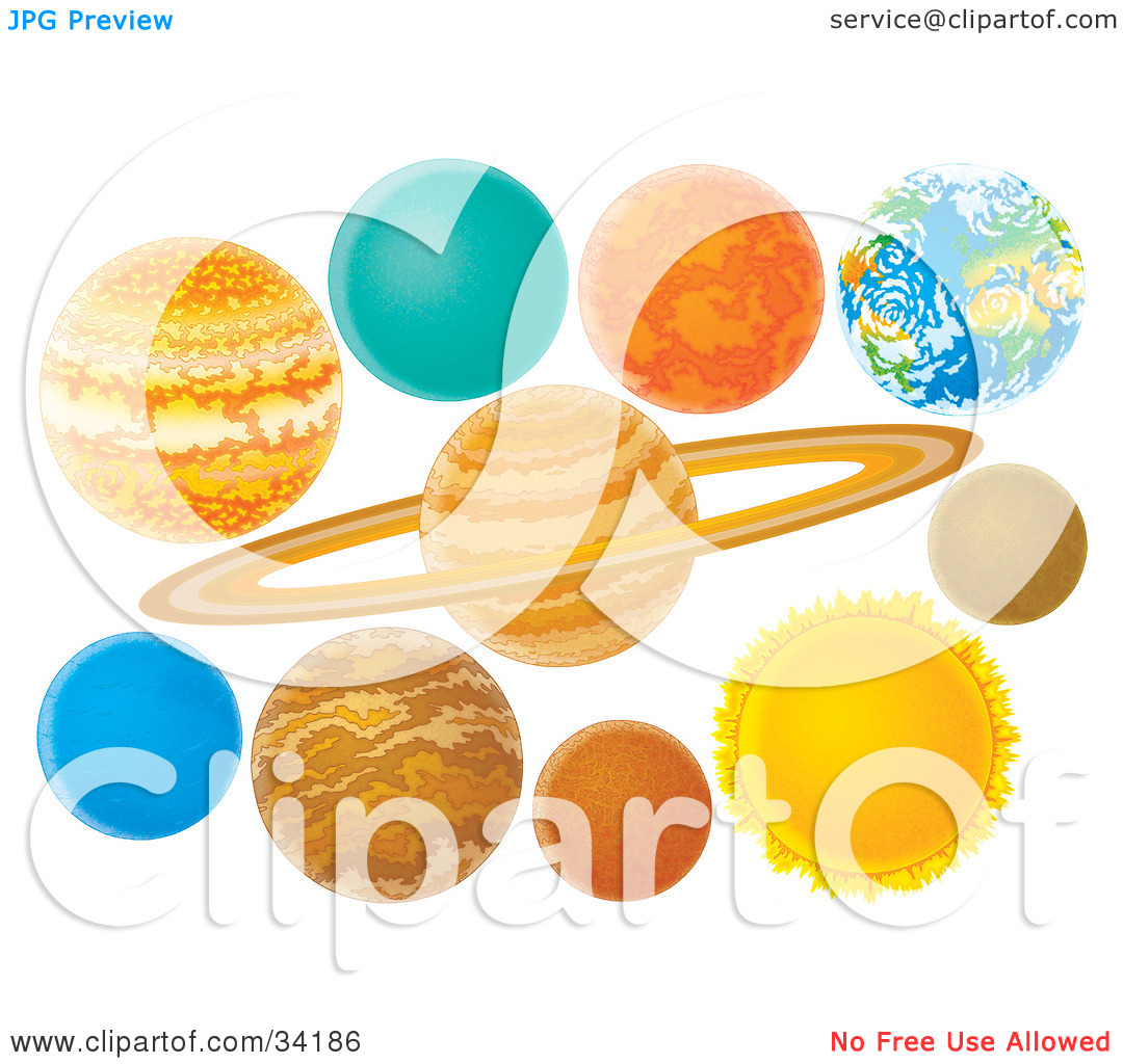 Clipart Illustration of Colorful Planets Of The Solar System by.