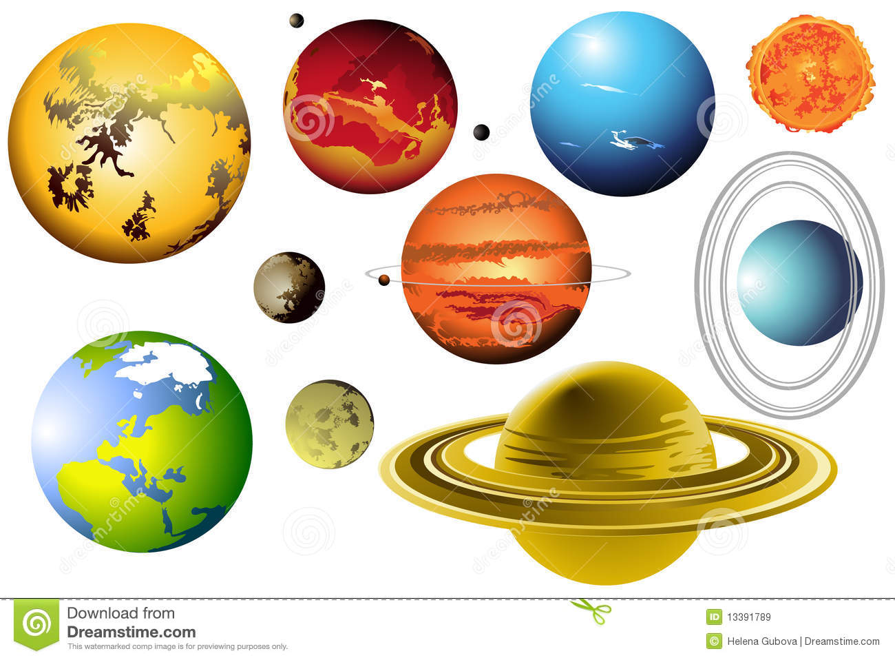 Solar System For Kids, Card Concept. Planet. Vect Royalty Free.