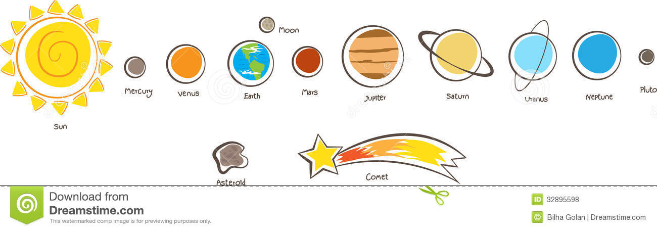 Sun And Planets Of The Solar System Stock Vector.