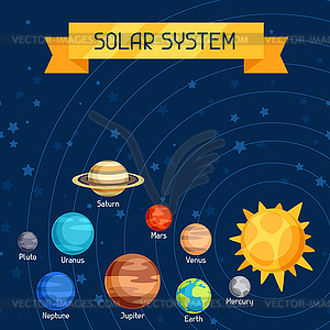 with planets of solar system.