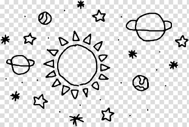 Planets and star illustration, Sticker Drawing PicsArt.