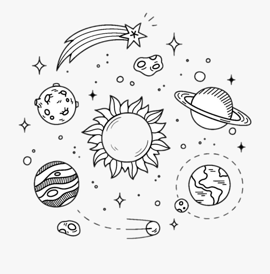 Planets Black White.