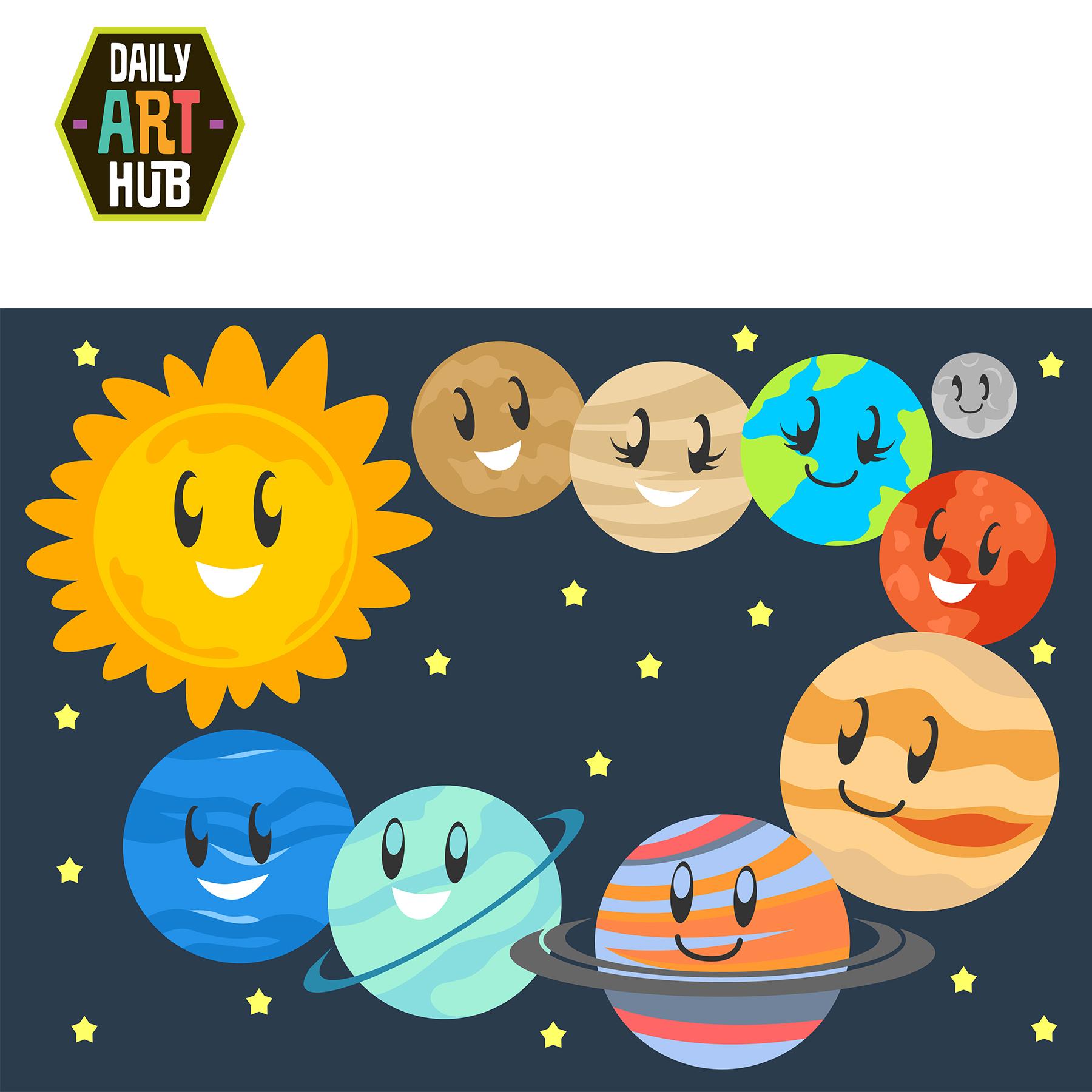 Cute Planets Clip Art Set.