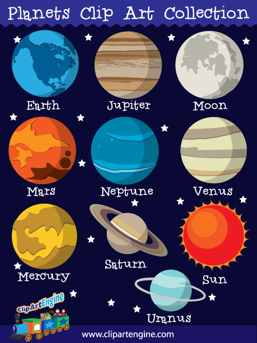 The 9 Planets Clipart.
