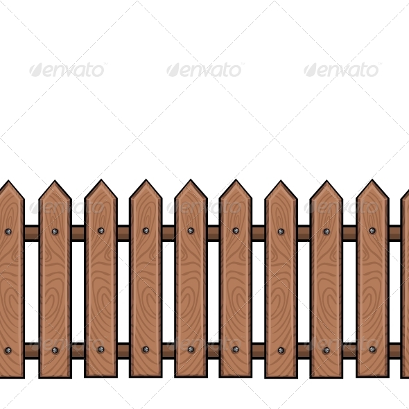 Seamless Cartoon Wooden Fence.