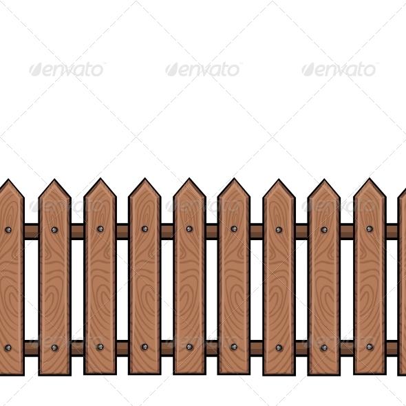 Seamless Cartoon Wooden Fence.