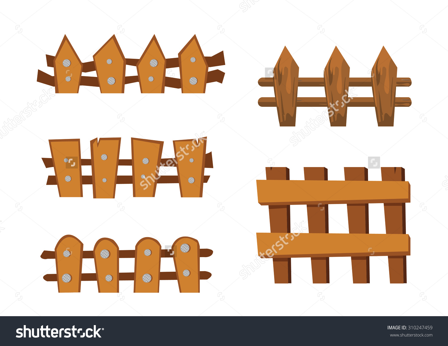Wood Fence Cartoon Object Stock Vector 310247459.