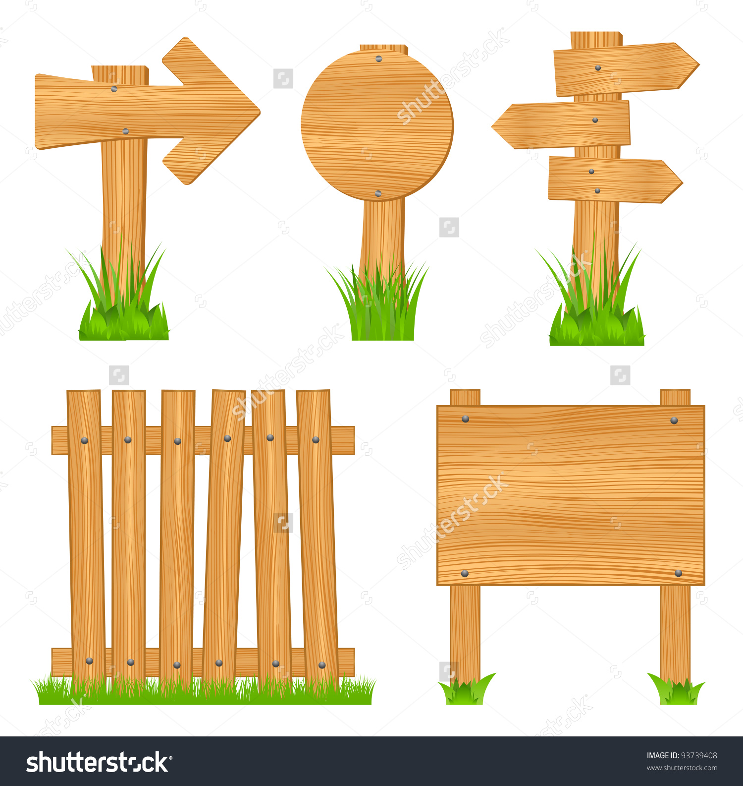 Wooden Arrow Signs Boards Fence Vector Stock Vector 93739408.