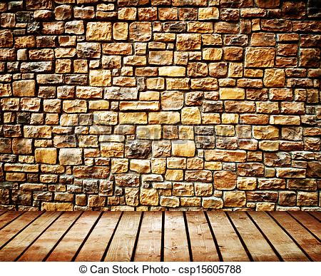 Pictures of Grunge wall with wooden plank floor csp15605788.