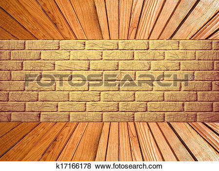 Stock Illustration of Yellow brick wall and wooden plank floor.