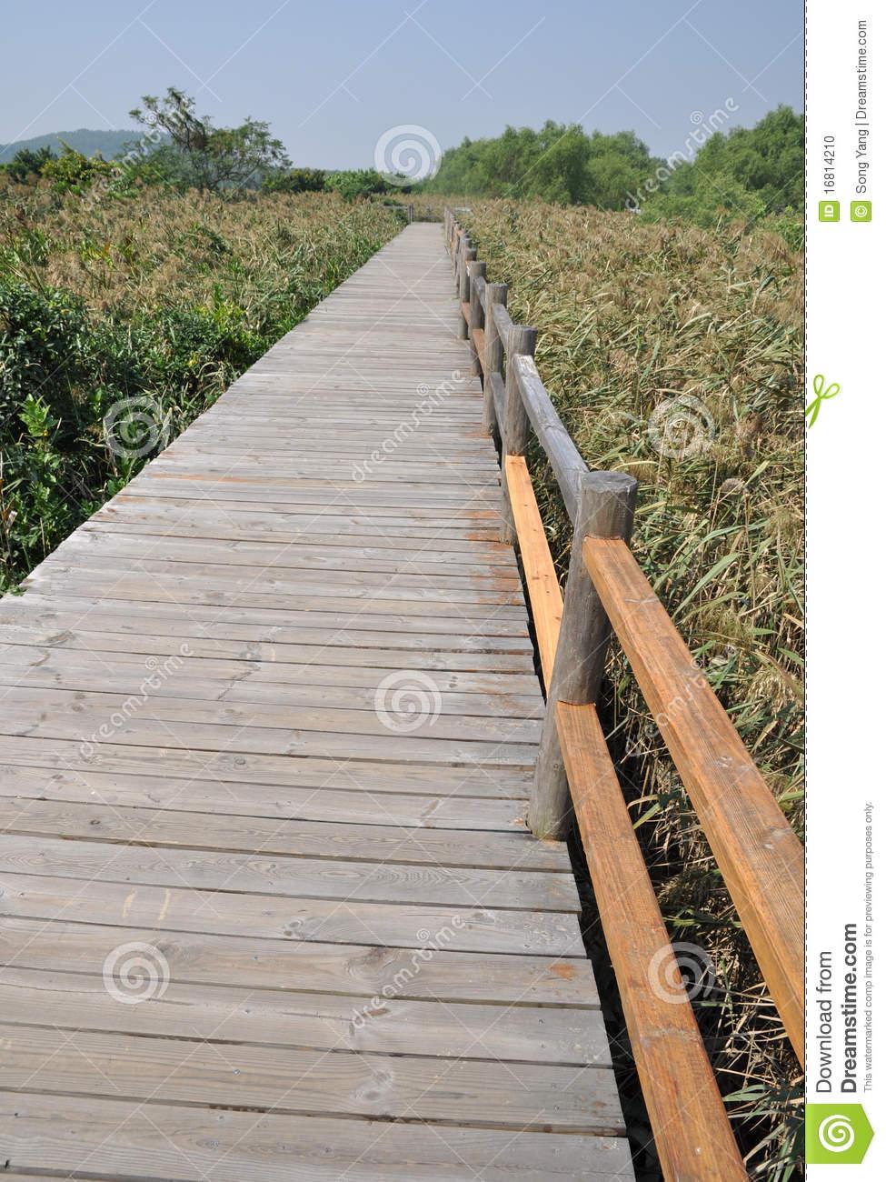 Wood Plank Road Stock Photo.