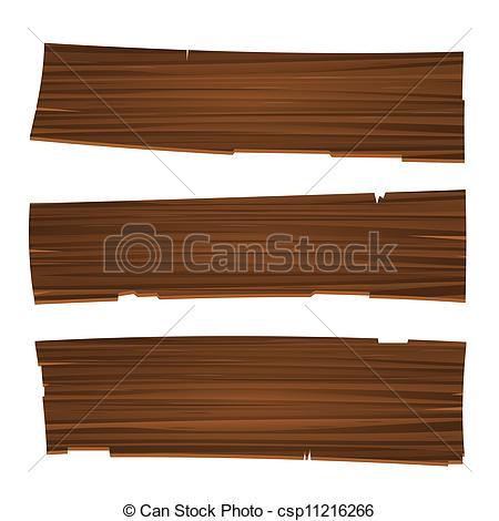 Clip Art Vector of Three Old Planks.