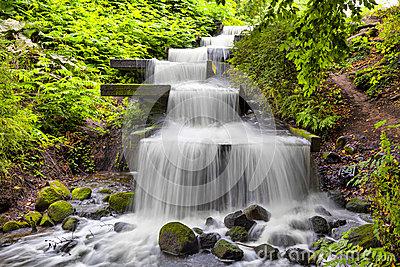 Cascade Waterfall In Planten Un Blomen Park In Hamburg Stock Photo.