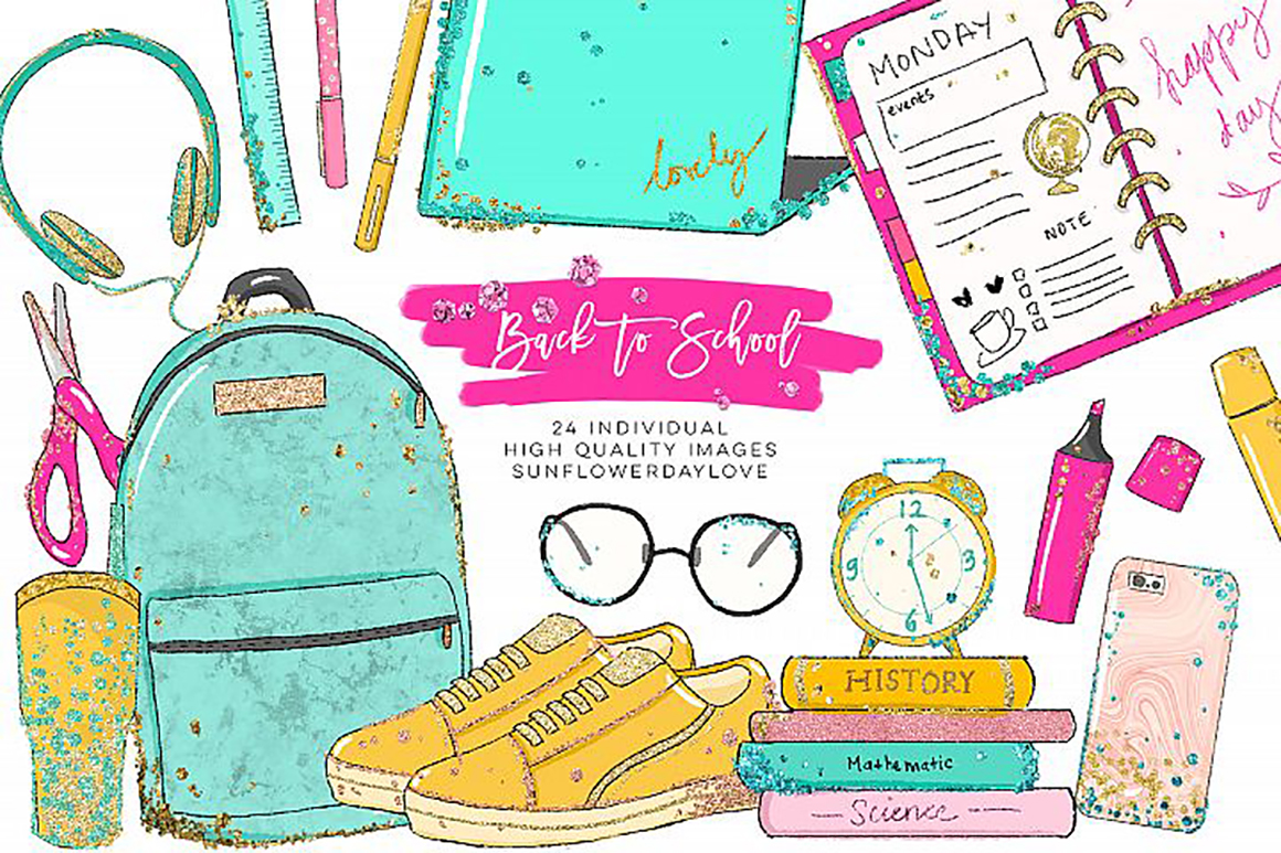 Back to School planner clipart, Watercolor School Clipart.