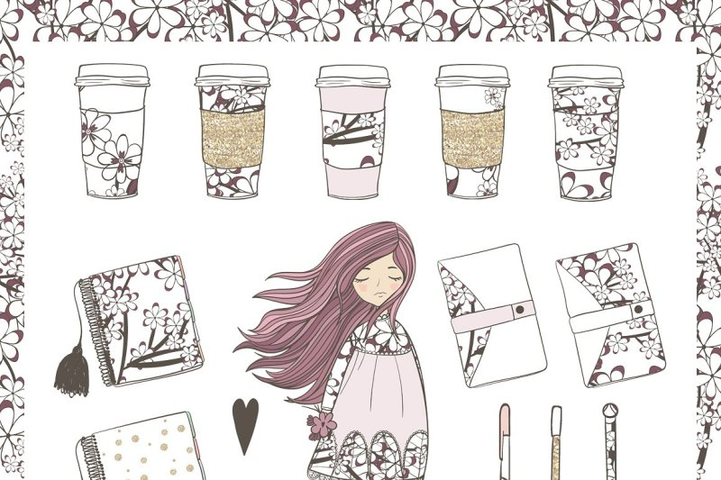 Planner Girl Clipart By Natdzho.