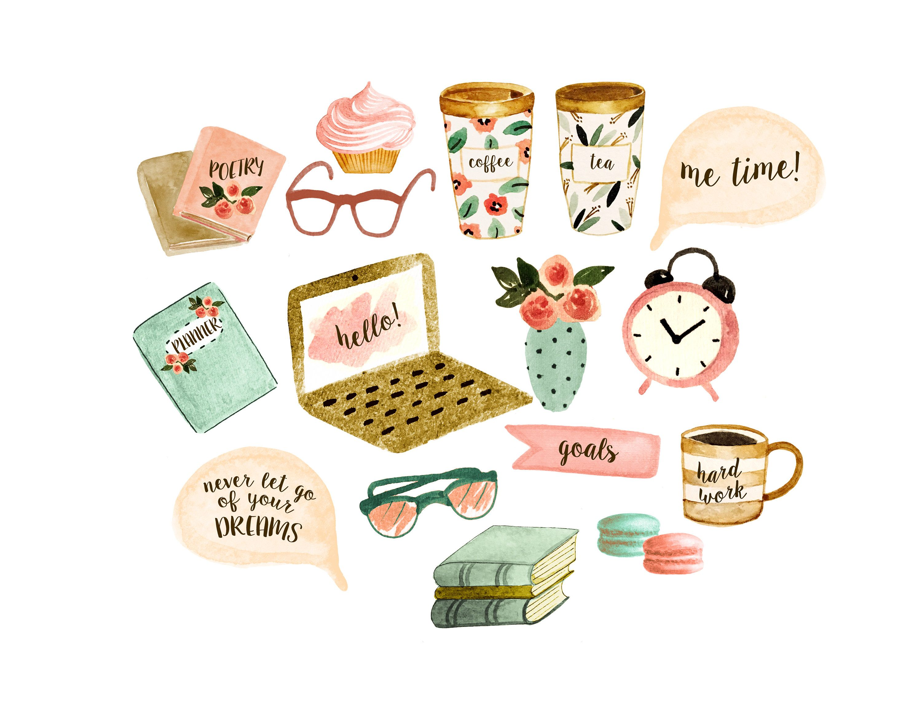 Watercolor planner stickers, planner clipart, coffee mug.