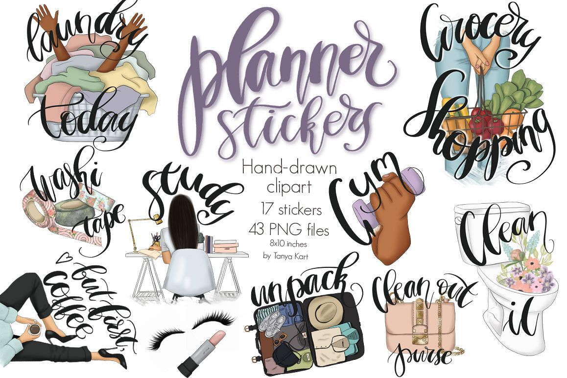 Planner Stickers Clipart Icons Kit.