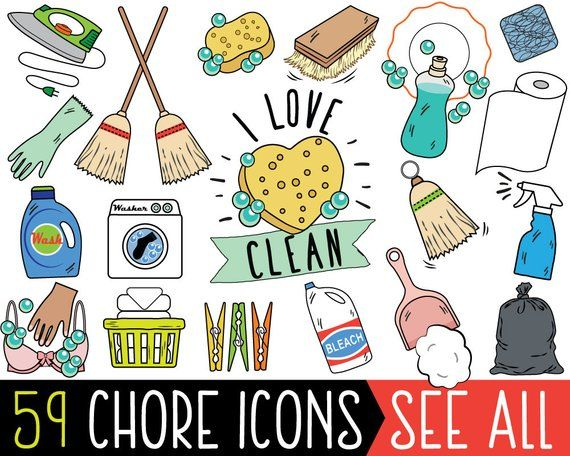 Chore Clipart, JUMBO Bundle, cleaning clipart, printable.