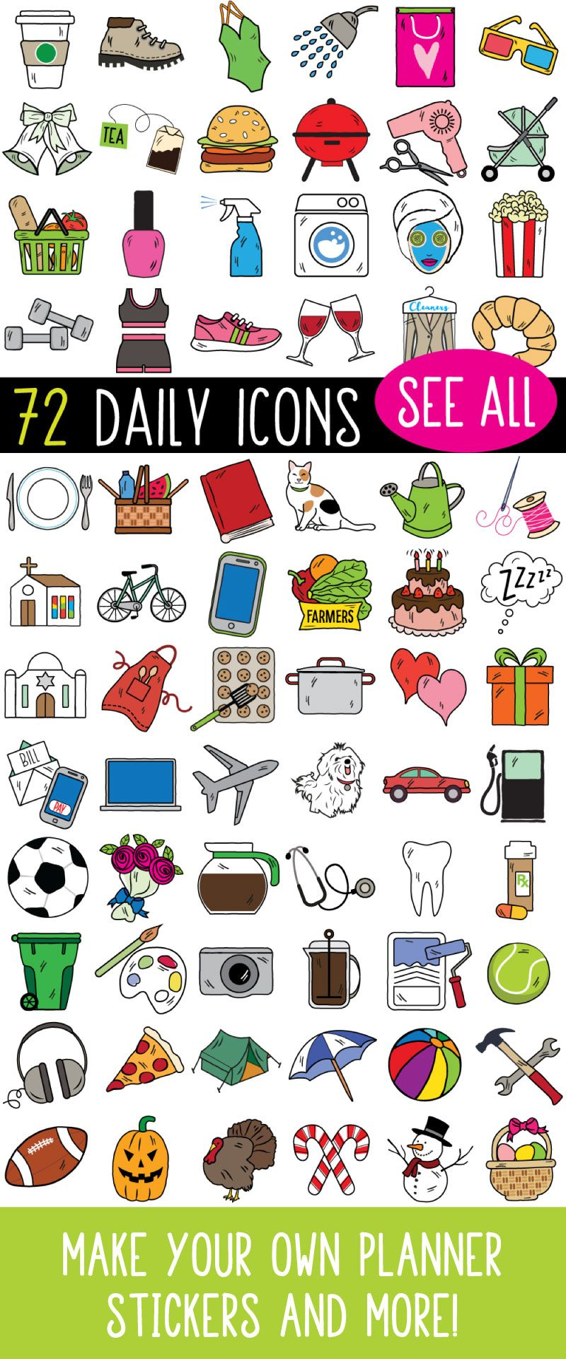 Everyday icon clipart for planners, bullet journals and more.