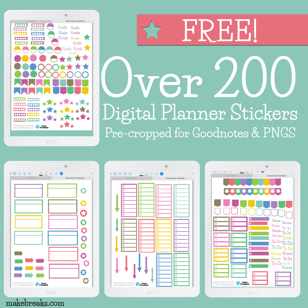 Free General Digital Stickers For Goodnotes & Digital.