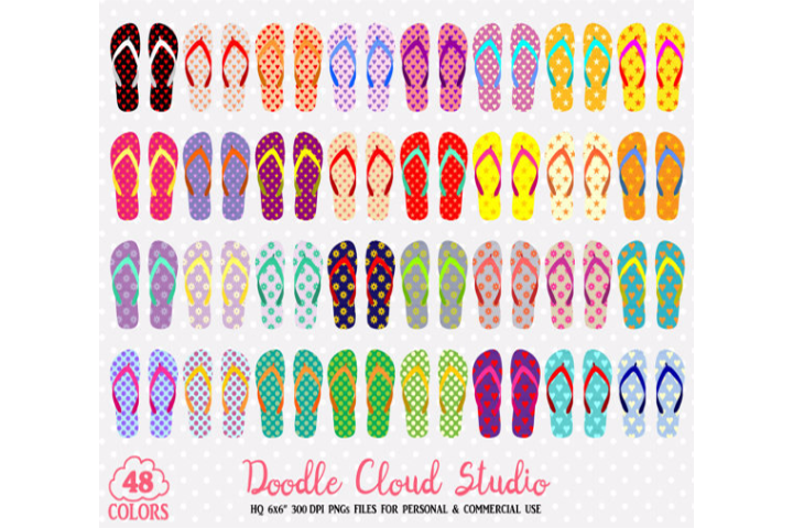 48 Colorful Patterned Flip Flop Clipart Summer Beach planner stickers  clipart PNG Transparent Background Personal & Commercial Use.