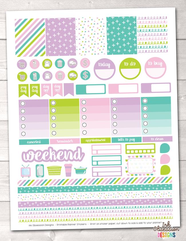 Unicorn Kisses Printable Planner Stickers Weekly Kit.