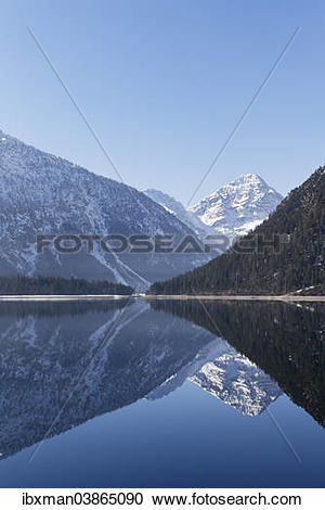 """Stock Photography of """"Plansee Lake with Mt Thaneller, Lechtal Alps."""