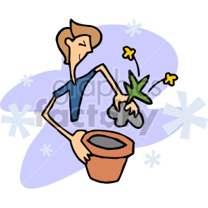 guy planting a flower clipart. Royalty.