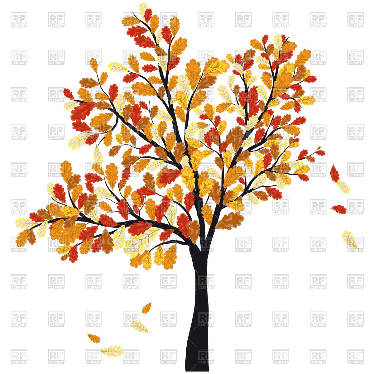 Autumn oak tree with falling leaves Vector Image #106764.