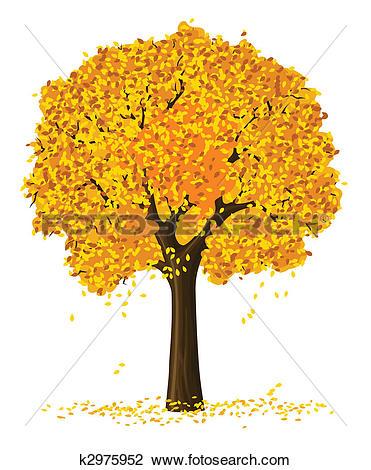 Clip Art of silhouette of autumn season yellow tree k2975952.