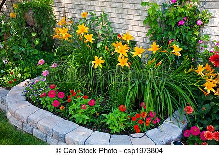 Stock Photo of Colorful Flower Bed.
