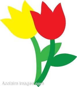 Clip Art of Yellow and Red Tulips.