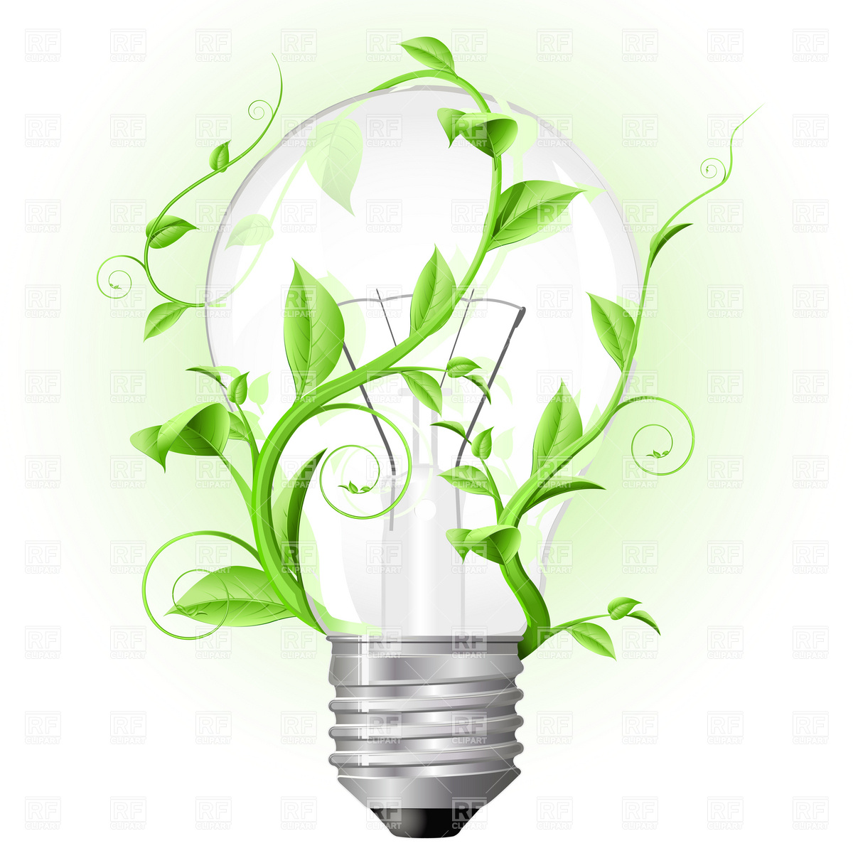 Light bulb twisted with plant Vector Image #4832.