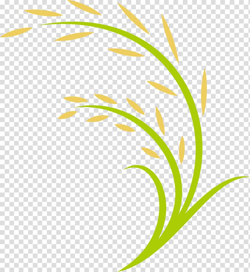 Green and yellow plant border, Rice Computer file, Cartoon.