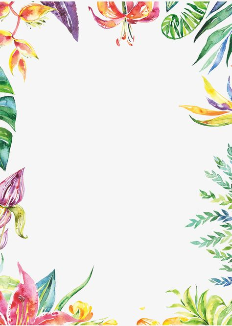 Hand Painted Colorful Plant Borders, Watercolor Border, Hand.