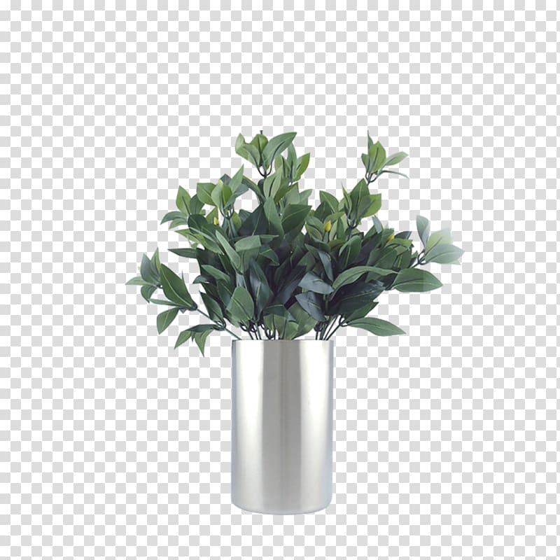 Green leafed plants inside vase, Table Nightstand Vase Plant.