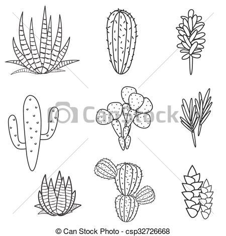 Clip Art Vector of Succulents plant vector set. Botanical black.